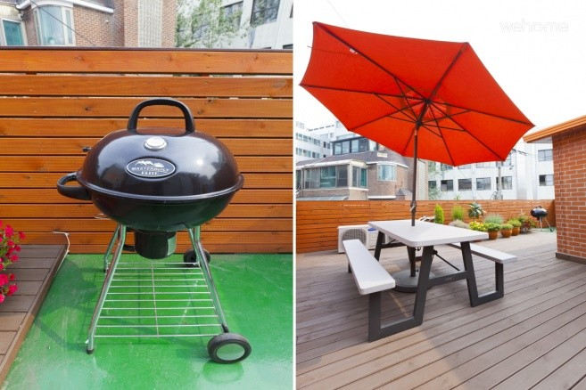 . Rooftop terrace (Bench, Table, Parasol, BBQ Grill)