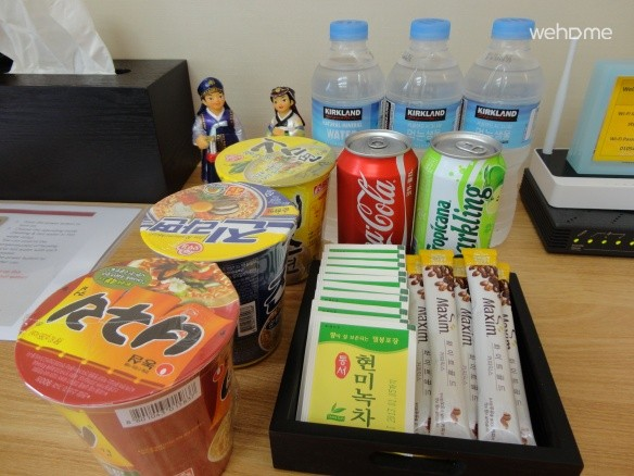 Complimentary instant noodles, beverages and tea