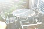 A table and chairs for brunch or coffee in the terrace