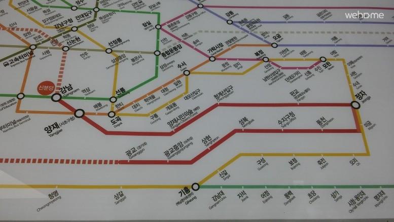 subway line map ... red bold line is Shinbundang Line (Kangnam-Gwanggyo)